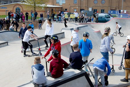 Official opening event at the new Bradley Stoke skate park.