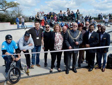 Official opening of the new Bradley Stoke skate park by Mayor Roger Avenin.