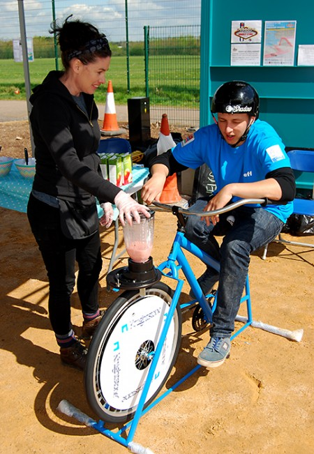 Mix your own smoothie at the official opening of the new Bradley Stoke skate park.