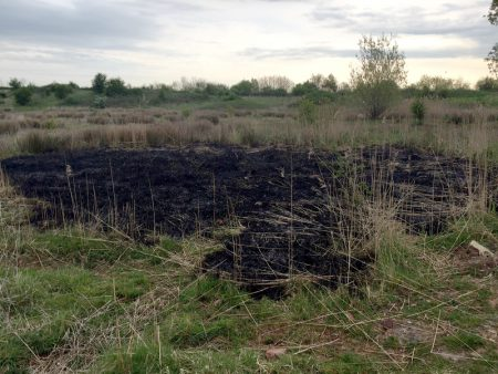 Aftermath of a fire on the Tump, Bradley Stoke, Bristol.