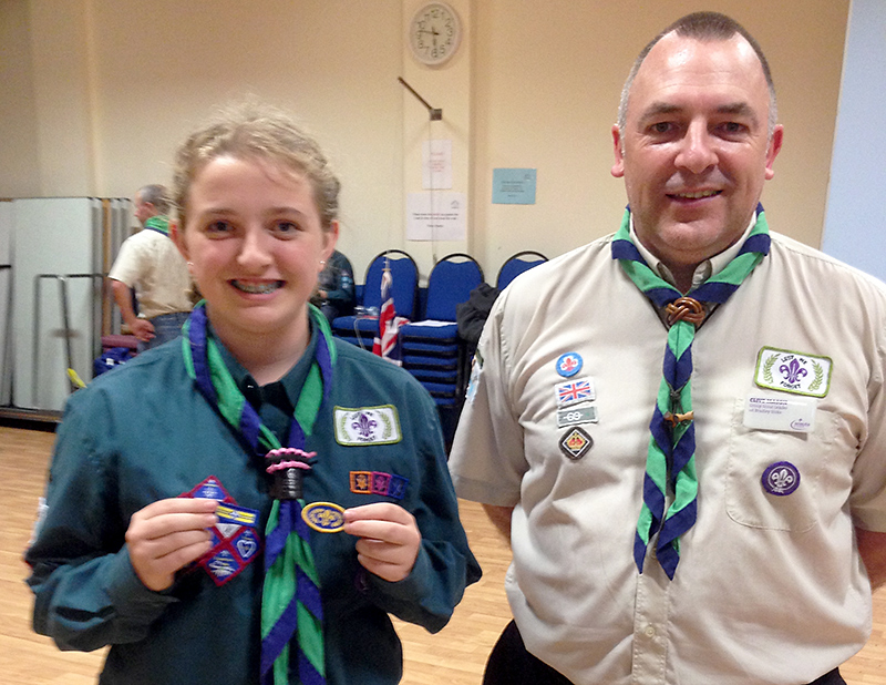 Ellie Holley, the first girl at 1st Bradley Stoke Scouts to attain the Chief Scout's Gold Award.