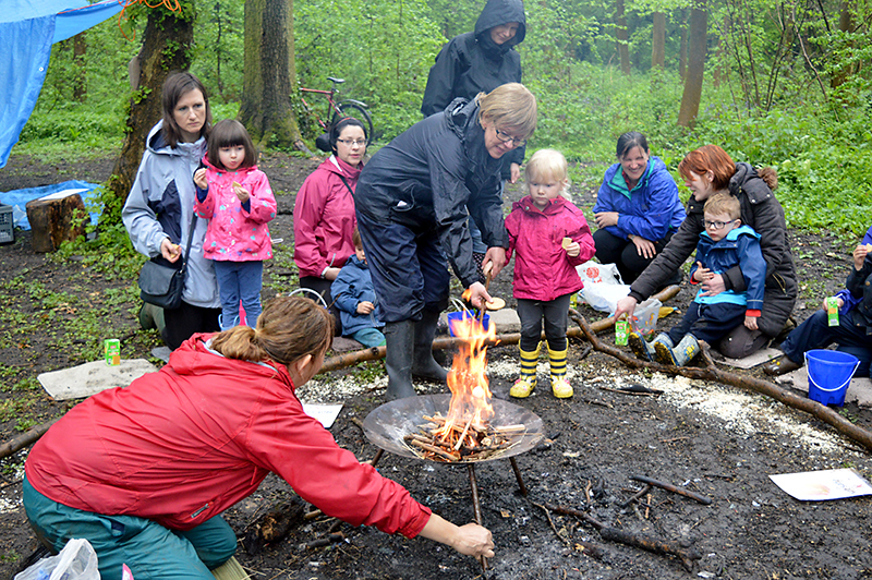 Abacus Pre-School campfire in Savages Wood, Bradley Stoke.