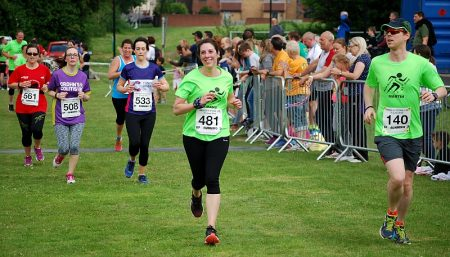 Runners approach the finish line in the 2016 Bradley Stoke 10k.