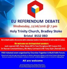 EU Referendum debate in Bradley Stoke on 22nd June 2016.