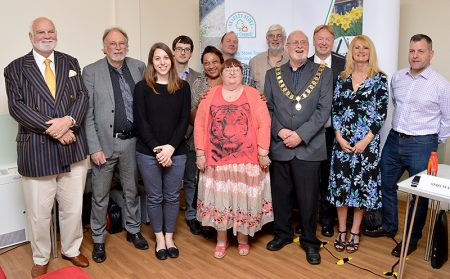 Former mayors of Bradley Stoke pictured at the 2016 Annual Town Meeting, where they were each presented with a pin badge in recognition of the work they had done for the town council.
