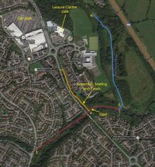 Route of proposed parkrun in the Three Brooks Local Nature Reserve, Bradley Stoke.