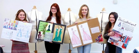 Bradley Stoke Community School student Tierney Mannion (third from left) with her design for the John Lewis prom dress competition.