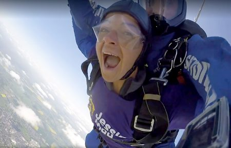 Jo Hancock on a charity skydive for the Jessie May Trust.