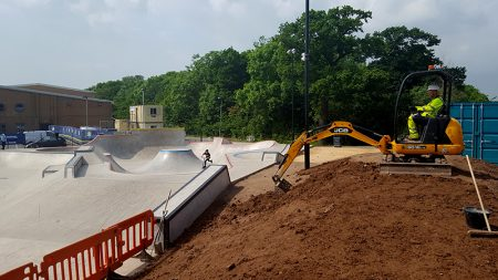 Staff from MetroBus contractors Alun Griffiths Ltd help landscape the area surrounding the new skate park at Bradley Stoke Leisure Centre.
