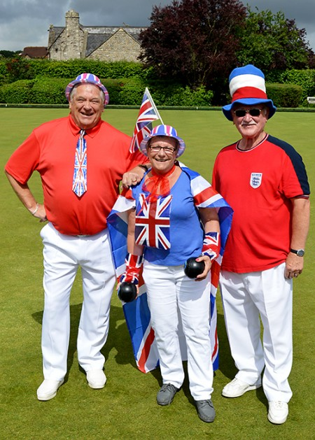 Read, white and blue at bowls club charity day.