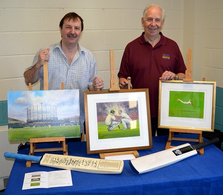Jack Russell MBE (left) and Mike Mundy (club president) at the 25th anniversary celebrations of Bradley Stoke Cricket Club on 5th June 2016.