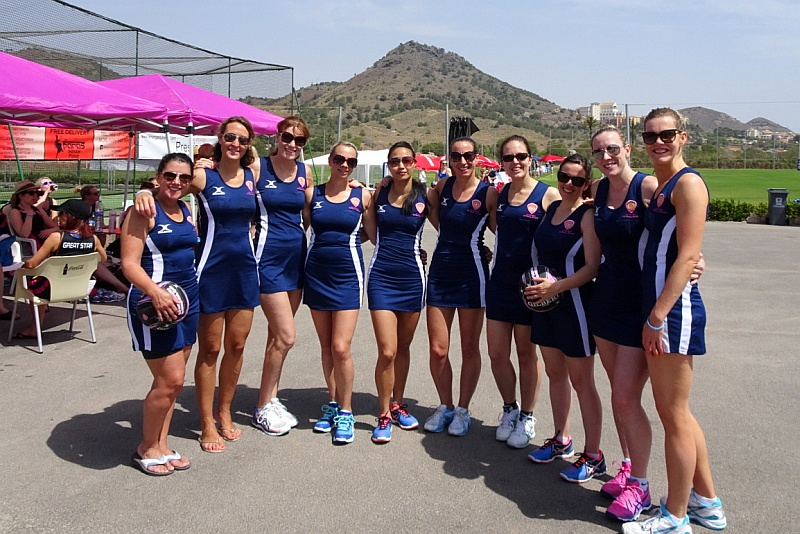 Bradley Stoke Netball Club's First Team at a tournament in La Manga, Spain.
