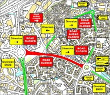 Traffic management plan for a temporary closure of Bradley Stoke Way.