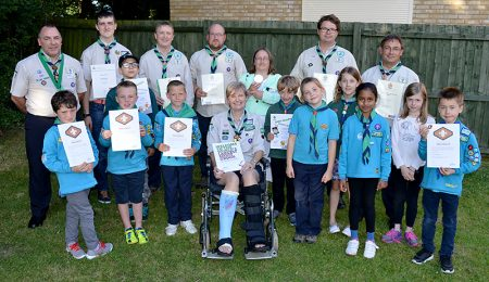 Some of the award winners honoured at the 2016 AGM of the 1st Bradley Stoke Scout Group.