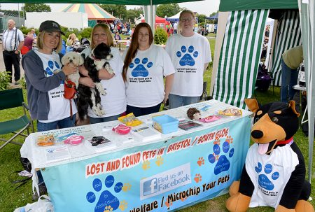 Supporters of the Lost and Found Pets in Bristol/South Glos group on their stand at the 2016 Bradley Stoke Community Festival.