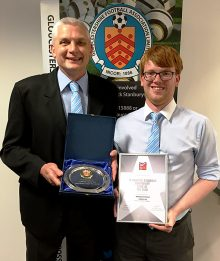 Martin Lee (left) and Ross Lee of Bradley Stoke Youth FC, pictured after being presented with the FA Charter Standard Community Club of the Year award by the Gloucestershire FA.