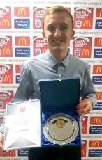 Matt Smith of Bradley Stoke Youth FC, pictured after being presented with the Young Coach of the Year award by the Gloucestershire FA.