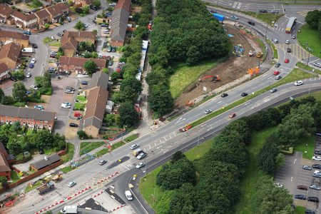 Aerial view of MetroBus construction work on Bradley Stoke Way, near the Aztec West Roundabout.