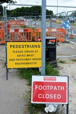 Footway diversion and carriageway lane closure on the westbound approach of Bradley Stoke Way to the Aztec West Roundabout.
