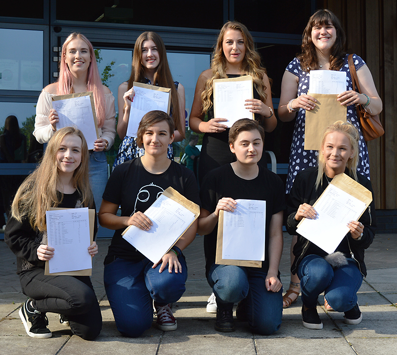 Top-achieving A-level students at Bradley Stoke Community School. Back row (l-r): Erin Pruett, Chloe Lorenzi, Alexandra McCallum and Victoria King. Front row (l-r): Annabel Phillips, Neave Spikings, Sophie Deliot and Holly Macdonald.