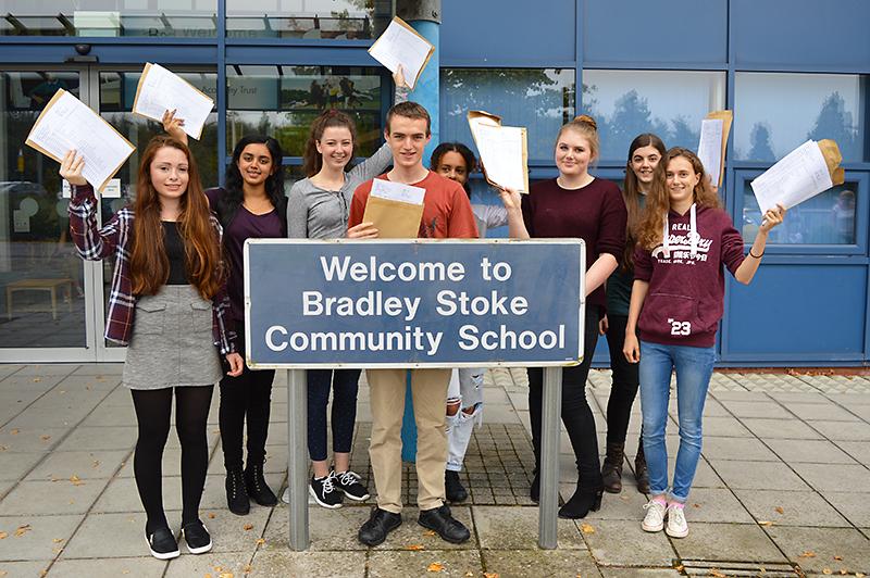 Top-achieving GCSE students at Bradley Stoke Community School. L-r: Sophie Brain, Mrudula Hirimagalur, Cristina Lojo, Thomas Smyth, Sadelle Onamade, Rachel Bennett, Emmanuelle Deliot and Abi Todd.