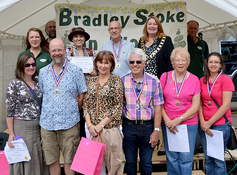 Prize winners and runners-up in the Bradley Stoke in Bloom 2016 Best Front Garden competition.