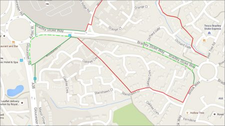Pedestrian diversion route during closure of footway on south side of Bradley Stoke Way.