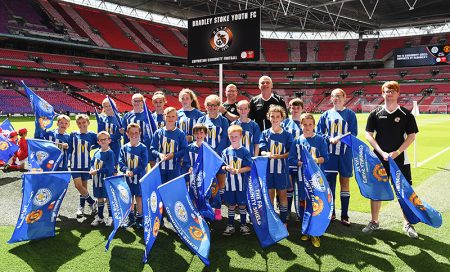 Bradley Stoke Youth FC players and coaches at Wembley Stadium for the 2016 FA Community Shield game.