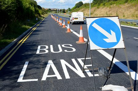 New bus lane on the northbound carriageway of Great Stoke Way, Stoke Gifford, Bristol.