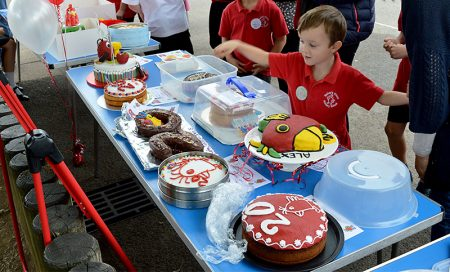 Celebrations to mark the 20th anniversary of Baileys Court Primary School, Bradley Stoke. Birthday cake competition entries.