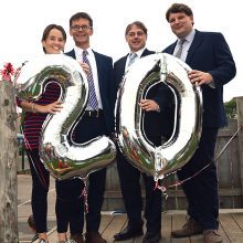 Celebrations to mark the 20th anniversary of Baileys Court Primary School, Bradley Stoke. L-r: Julie Barnett (teacher and lead for anniversary celebrations), Martin Telfer (deputy headteacher), Andrew Davey (governor) and Andrew Lynham (headteacher).