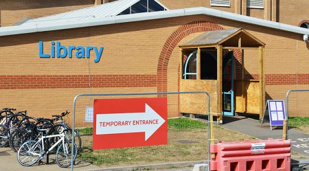 Bradley Stoke Library (temporary entrance during redevelopment work in 2016).