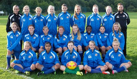 Bradley Stoke Youth FC U14 Girls team in match day jackets provided courtesy of The Physio Clinic.