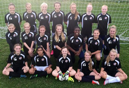 Bradley Stoke Youth FC U14 Girls team in training tops provided courtesy of Muzzy's Kebabs.