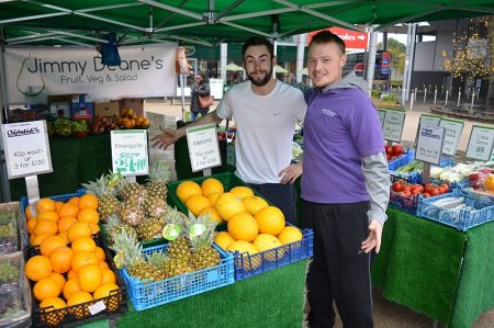 Opening day (Monday 24th October 2016) for the Jimmy Deane's Fruit, Veg & Salad stall in the town square at the Willow Brook Centre, Bradley Stoke, Bristol.