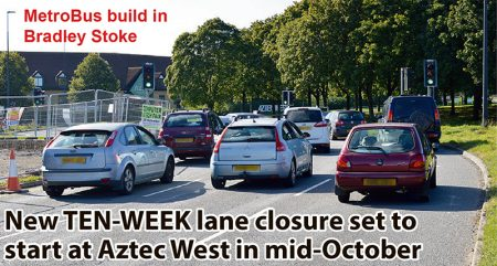 New TEN-WEEK lane closure set to start at Aztec West in mid-October.