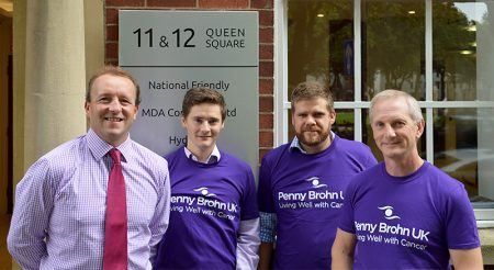 L-r: Jamie Bramhall (Corporate Account Manager, Penny Brohn) with charity walkers Rich Carroll, Chris Wroe and Neil Thompson.