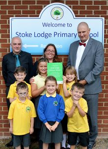 Presentation of a commemorative plaque to mark Stoke Lodge Primary School's joining of the Olympus Academy Trust.