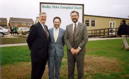 Bradley Stoke Evangelical Church: Official opening of the Portakabin for church services in November 1991. L-r: Eric Olsen; Fred Goodger (representative of FIEC) and Mike Hawkins.