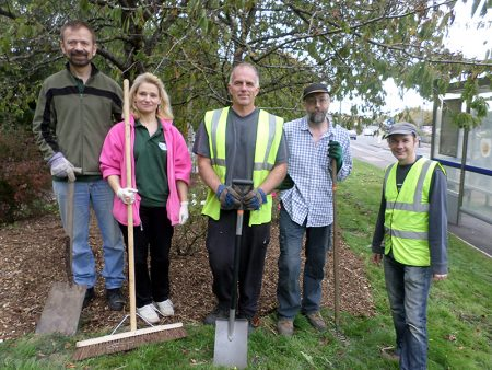 Bradley Stoke in Bloom volunteers at the rose garden on Brook Way.