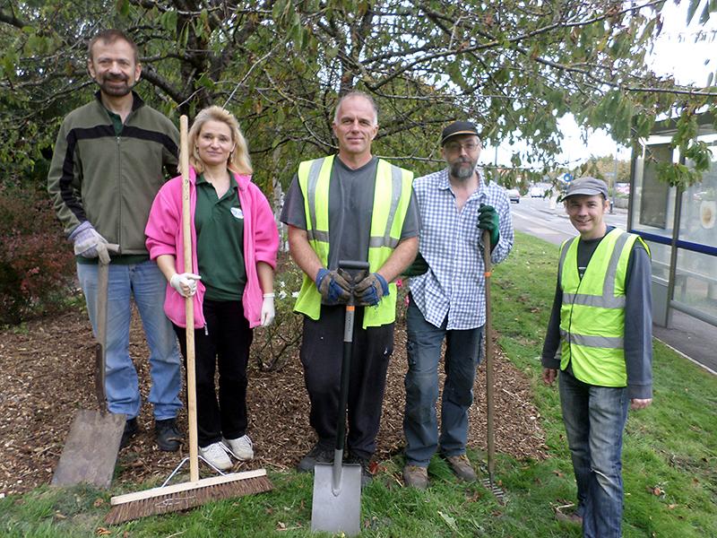 Bradley Stoke in Bloom volunteers at the rose garden on Brook Way.
