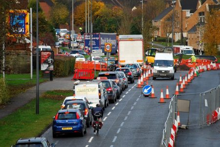 Traffic congestion on Bradley Stoke Way, caused by the MetroBus roadworks.