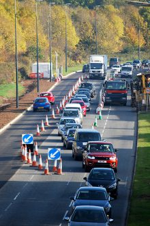 Traffic management on Bradley Stoke Way during MetroBus construction work.
