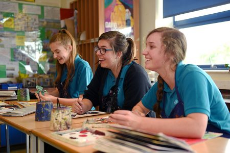 Students at Bradley Stoke Community School, Bristol.