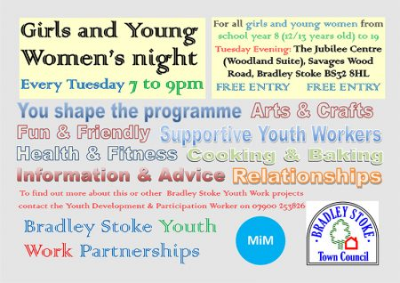 Bradley Stoke Girls and Young Women's Night poster.