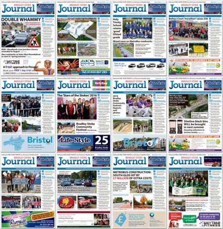 Bradley Stoke Journal magazine front covers during 2016.