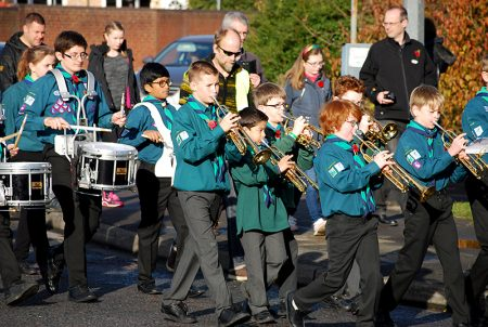 Marching band of the 1st Bradley Stoke Scout Group in the 2016 Remembrance Day parade.
