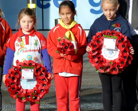 Young people prepare to lay wreaths at the Bradley Stoke Remembrance Day Ceremony 2016.