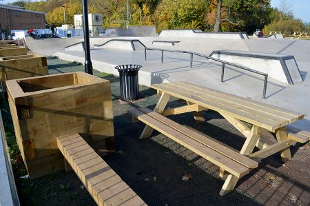 New wooden benches and planters installed at Bradley Stoke Skate Park during a day of voluntary work.