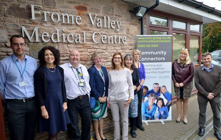 Launching Community Connectors at Frome Valley Medical Centre, L-r: Cllr Jon Hunt (Chair of S Glos Children, Adults & Health Committee), Vicky Elliott (Practice Manager), Robin Woodward (Community Connectors Team Leader), Sue Jacques (South Glos Council Commissioning Officer), Hilary Jay (Community Connectors Wellbeing Worker), Dr Jane Goram (GP), Claire Rees (S Glos Health & Wellbeing Partnership Support Officer), Harriet Bosnell (Curo Director of Health, Care & Support) and Dr Jon Evans (S Glos Clinical Commissioning Group).